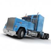 Blue American trailer truck