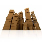 Huge piles of cardboard boxes in equilibrium